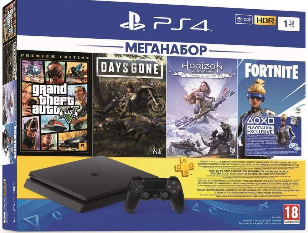 Sony Playstation 4 Slim 1Tb (GTA5 + DG + HZD) PSPlus 3м.