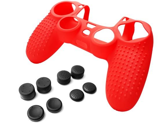 Силиконовый чехол для Dualshock 4 (Красный) + 8 накладок на стики