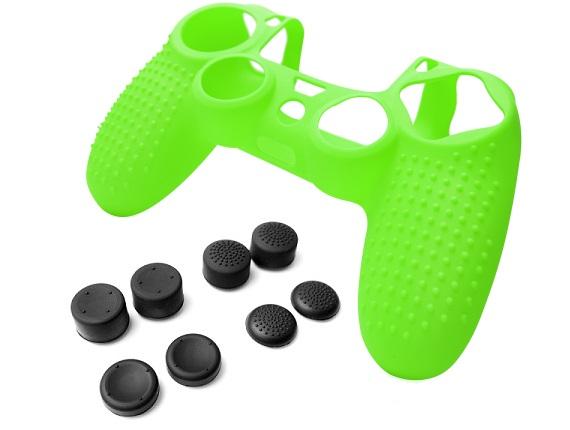 Силиконовый чехол для Dualshock 4 (Зелёный) + 8 накладок на стики