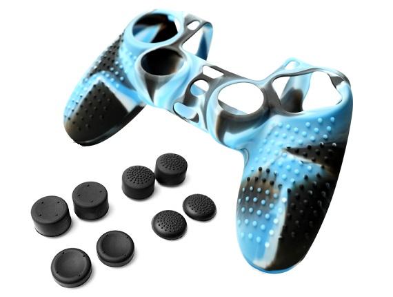 Силиконовый чехол для Dualshock 4 (Черно-синий) + 8 накладок на стики