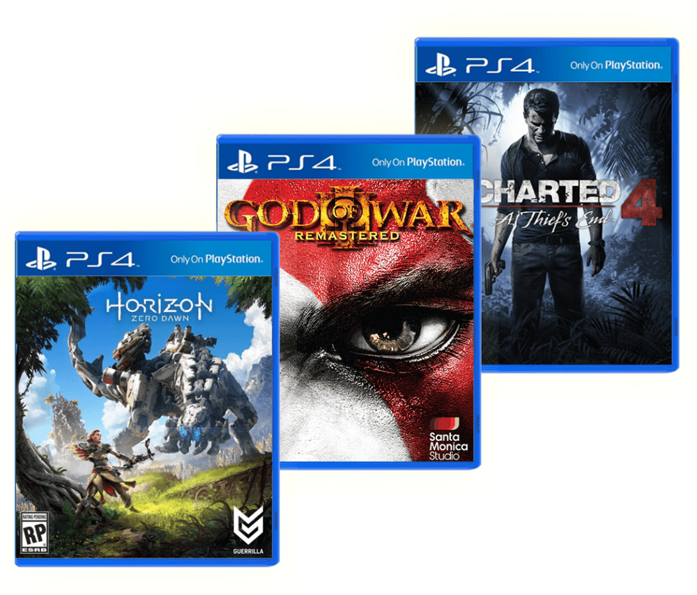 Uncharted 4 + Horizon: Zero Dawn + God of War 3